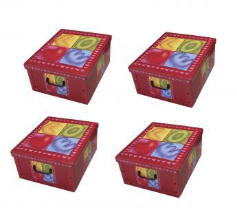 Ordnungsboxen Deko Karton Box Clip Sweetheart 4er SET Aufbewahrungsbox für Haushalt Büro Wäsche Geschenkbox Dekokarton Sammelbox Mehrzweckbox Ordnungskarton Ordnungsbox Geschenkekarton