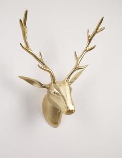 """Deko Geweih Hirschkopf """"gold"""" (Größe: M) - Wandfigur, Wanddeko, Hirschgeweih, Hirschkopf, Geweih und Skulptur - Vorschau"""