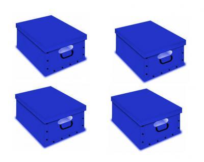 Ordnungsboxen Deko Karton Box Clip 4er SET Blau mit Fenster