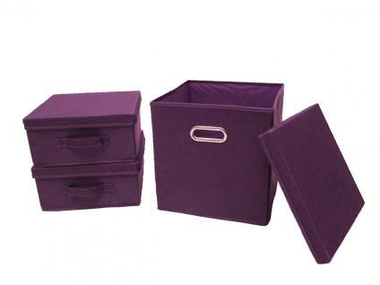Ordnungsboxen Violett 3er SET Aufbewahrungsbox Stoff Aufbewahrungskorb mit Deckel Faltbar Spielzeugkiste Einschubkorb Regalbox Stoffbox Faltbox Regaleinsatz