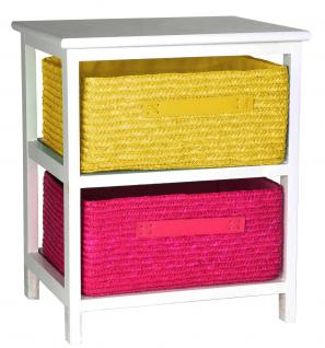Kommode Beistelltisch Nachttisch Holz weiß lackiert 2S mit zwei Rattan Körben für Kinderzimmer Bad Flur Büro und Babyzimmer