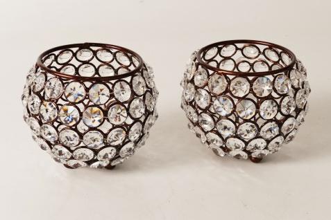 Kristall Kerzenständer Marie 2er SET Kugel 10 cm in Braun Teelichthalter Kerzenhalter Tafel Hochzeit Feier Teelichthalter Kerzenleuchter Tischdeko Gastgeschenke