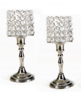 Kristall Kerzenständer Louise 2er SET M 24 cm Teelichthalter Kerzenhalter Kerzenleuchter Tischdeko Gastgeschenke silber