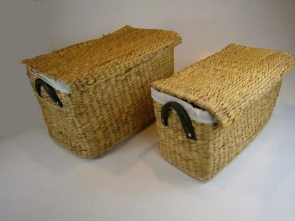 Aufbewahrungs Körbe Wasserhyazinthe mit Griff 2er Set, Ordnungshelfer, Boxen, Behälter