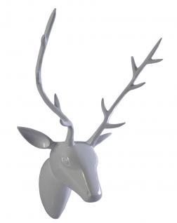 Deko Geweih Hirschkopf Aluminium in WEISS poliert Wandfigur Wanddeko Hirschgeweih Hirschkopf Geweih Figur Skulptur Deko Weihnachten Weihnachten Deko Dekoration Weihnachtsdeko