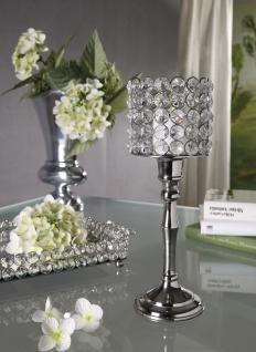 Kristall Kerzenständer Louise L 27 cm Teelichthalter Kerzenhalter Kerzenleuchter Tischdeko Gastgeschenke silber - Vorschau 3