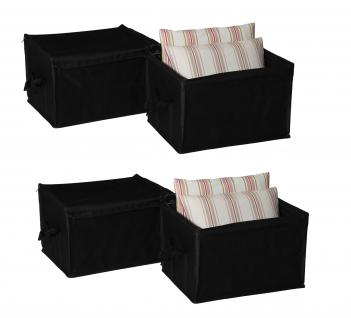Box, Ordnungsboxen 4er SET Nylon schwarz 4x M Aufbewahrung Ordnungshelfer Geschenkeboxen Regalaufbewahrung Aufbewahrungskorb Regalkorb