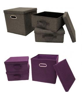 Ordnungsboxen Grau und Violett 2x 3er SET Aufbewahrungsbox Stoff Aufbewahrungskorb mit Deckel Faltbar Spielzeugkiste Einschubkorb Regalbox Stoffbox Faltbox Regaleinsatz