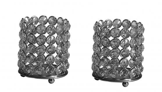 Kristall Kerzenständer 2er Set Lucy S Teelichthalter Kerzenhalter Kerzenleuchter Tischdeko Gastgeschenke silber