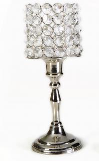 Kristall Kerzenständer Louise L 27 cm Teelichthalter Kerzenhalter Kerzenleuchter Tischdeko Gastgeschenke silber