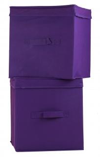 """Ordnungsboxen """"Levi"""" Violett 2x 2er SET Aufbewahrungsbox Stoff Aufbewahrungskorb Faltbar"""