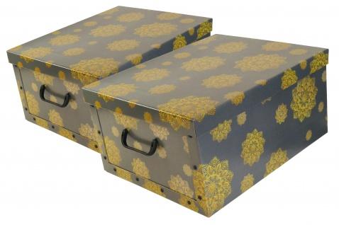 """Ordnungsboxen Deko Karton 2er Set Box Clip """"Mandala Blumen Gelb""""Aufbewahrungsbox"""