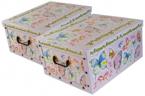 """Ordnungsboxen Deko Karton 2er Set Box Clip """"Schmetterlinge"""" Aufbewahrungsbox"""