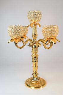 """Kristall Kerzenständer """"Florence"""" Kerzenhalter 5-armig (Farbe: GOLD) - Teelichthalter, Kerzenleuchter, Tischdeko, Gastgeschenk und Weihnachtsdekoration"""