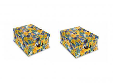 Ordnungsboxen Deko Karton Clip 2er SET Motiv Spring Aufbewahrungsbox für Haushalt Büro Wäsche Geschenkbox Dekokarton Sammelbox Mehrzweckbox Ordnungskarton Ordnungsbox Geschenkekarton