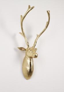 Deko Geweih Charly Gold Hirschkopf Hirschgeweih Hirschkopf Geweih Figur Skulptur Deko - Vorschau