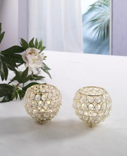 Kristall Kerzenständer Marie 2er SET Kugel 10 cm in GOLD Teelichthalter Kerzenhalter Tafel Hochzeit Feier Teelichthalter Kerzenleuchter Tischdeko Gastgeschenke