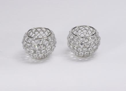 Kristall Kerzenständer Kugel 10 cm 4er Set Teelichthalter Kerzenhalter Teelichthalter Bling Bling Tafel Hochzeit Tischdeko Gastgeschenke silber - Vorschau 2