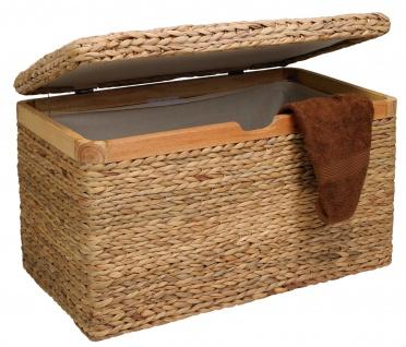 Truhe mit Klappdeckel Wasserhyazinthe hell klein, mit Zierrahmen aus Massivholz