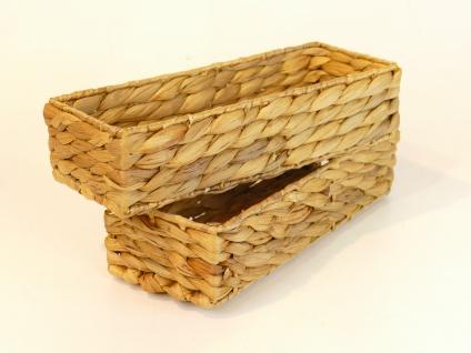 Besteckkörbe 2er Set aus Wasserhyazinthe natur atmungsaktiv Aufbewahrungsbox Kosmetikkorb 30/12/7 cm