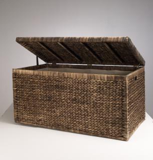 Truhe Geflecht mit Klappdeckel 95 cm, braun, atmungsaktiv Aufbewahrungsbox mit Deckel Aufbewahrungskiste Aufbewahrungstruhe Wäschetruhe Auflagenbox Wasserhyazinthe - Vorschau 2