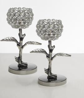 Kristall Kerzenständer Teelichthalter Leaves 2er SET Teelichthalter Kerzenhalter Kerzenleuchter Tischdeko Gastgeschenke silber Weihnachten Weihnachten Deko Dekoration