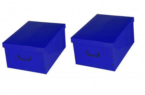 Ordnungsboxen Deko Karton 2er Set Box Clip Blau Aufbewahrungsbox für Haushalt Büro Wäsche Geschenkbox Dekokarton Sammelbox Mehrzweckbox Ordnungskarton Ordnungsbox Geschenkekarton