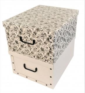 """Ordnungsboxen Deko Karton 2er Set Box Clip """"Mandala Blumen Schwarz"""" und Weiß Aufbewahrungsbox"""