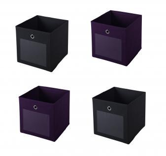 Ordnungsboxen FABIO Violett und Grau 4er SET Aufbewahrungsbox Stoff Aufbewahrungskorb Faltbar Spielzeugkiste Einschubkorb Regalbox Stoffbox Faltbox Regaleinsatz