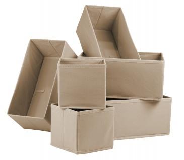 """Ordnungsboxen """"Colin"""" Beige 6er SET Aufbewahrungsbox Stoff Aufbewahrungskorb Faltbar Spielzeugkiste Einschubkorb Regalbox Stoffbox Faltbox Regaleinsatz"""