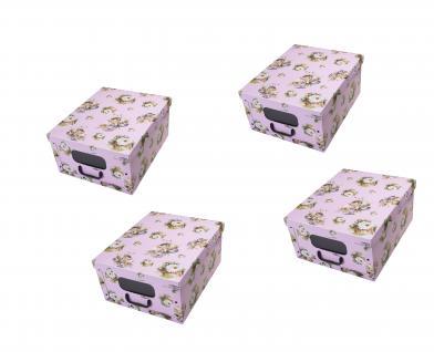 Ordnungsboxen Deko Karton Box Clip Rosa dream mit Fenster 4er SET Aufbewahrungsbox für Haushalt Büro Wäsche Geschenkbox Dekokarton Sammelbox Mehrzweckbox Ordnungskarton Ordnungsbox Geschenkekarton