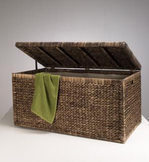 Truhe Geflecht mit Klappdeckel 95 cm, braun, atmungsaktiv Aufbewahrungsbox mit Deckel Aufbewahrungskiste Aufbewahrungstruhe Wäschetruhe Auflagenbox Wasserhyazinthe