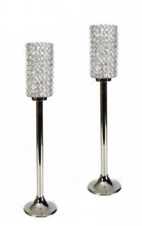 Kristall Crystallights Kerzenständer Vivian L 2er SET Teelichthalter Kerzenhalter Kerzenleuchter Tischdeko Gastgeschenke silber