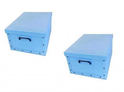 Ordnungsboxen Deko Karton 2er Set Box Clip Hellblau Aufbewahrungsbox