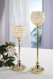 Kristall Kerzenständer Marie 2er Set in GOLD Crystallights Teelichthalter Bling Bling Tischdeko Gastgeschenke Hochzeitsdeko Weihnachten Weihnachten Deko Dekoration Weihnachtsdeko