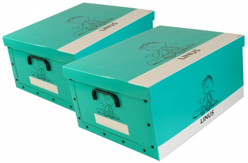 """Ordnungsboxen Deko Karton 2er Set Box Clip """"Linus Türkis"""" Aufbewahrungsbox"""