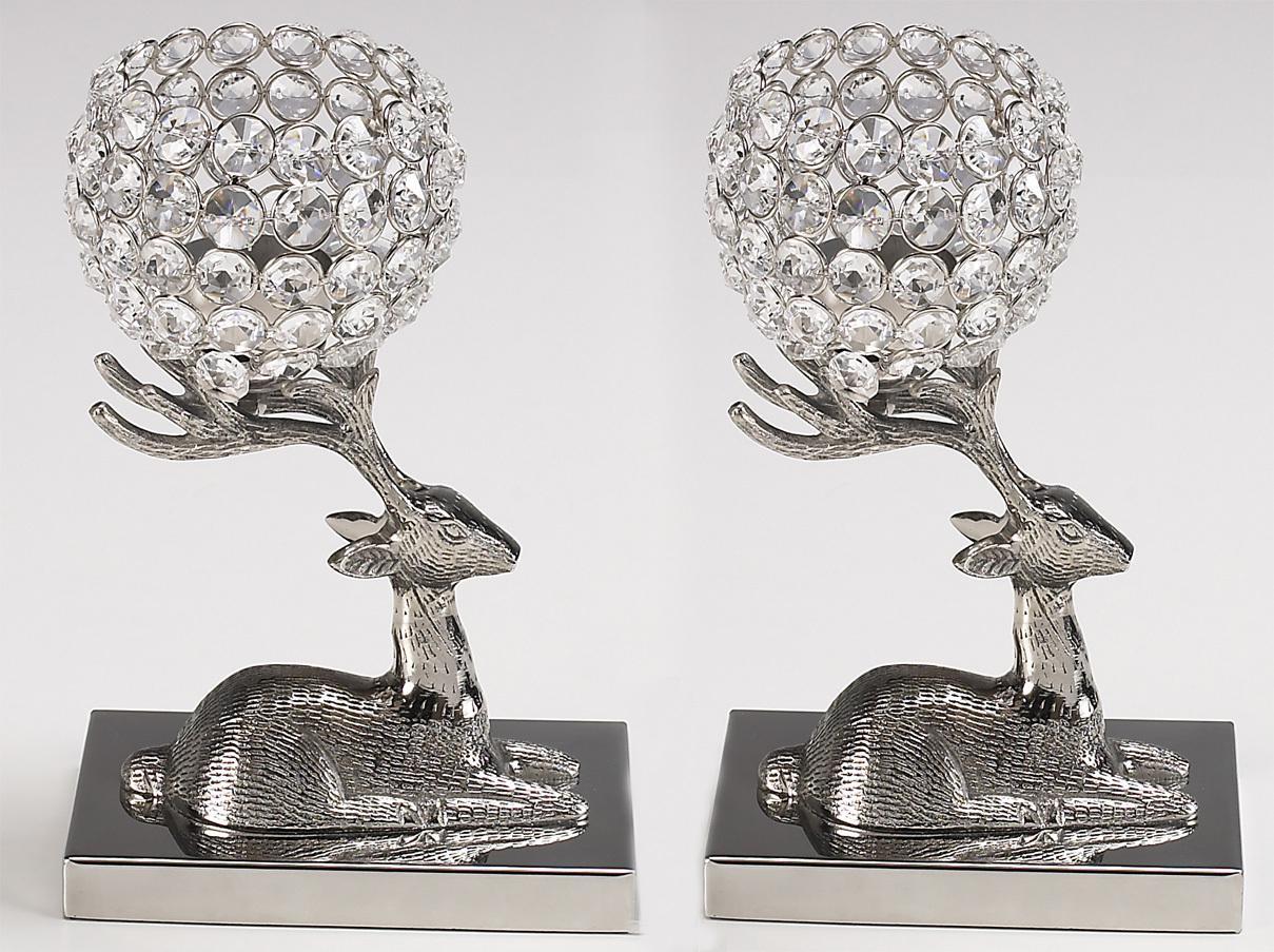 Kristall Kerzenständer Marie Auf Hirsch 2er SET Teelichthalter Kerzenhalter  Kerzenleuchter Tischdeko Gastgeschenke Silber