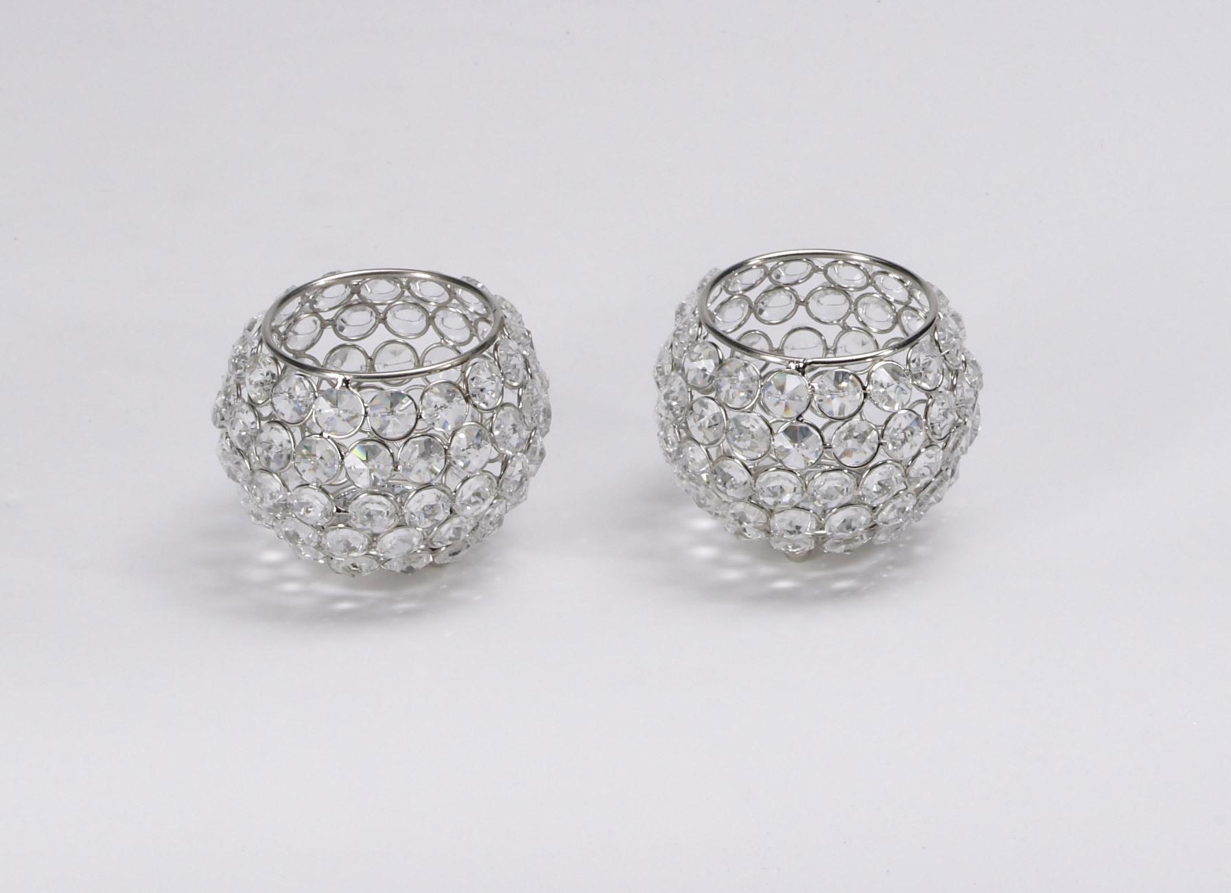 kristall kerzenst nder kugel 10 cm 4er set teelichthalter. Black Bedroom Furniture Sets. Home Design Ideas