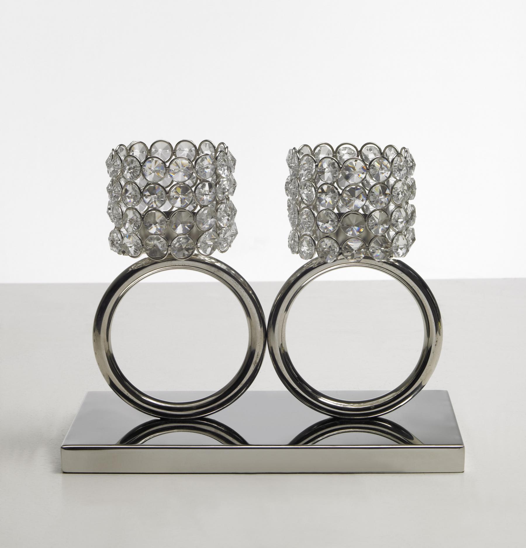 Ausgefallene Deko Silber: Kristall Kerzenständer Teelichthalter Louise 2 Ring