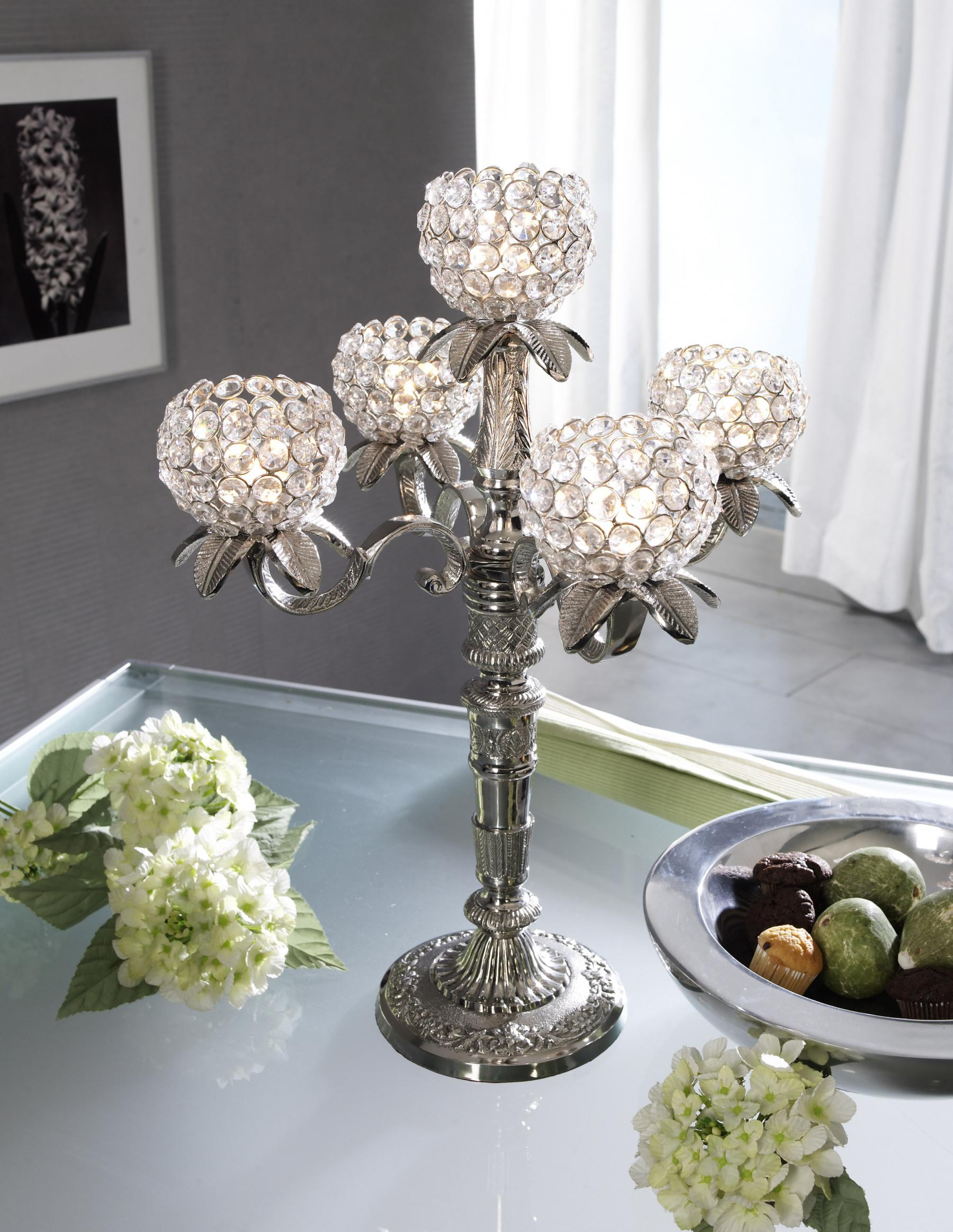 kristall kerzenst nder florence kerzenhalter 5 armig in silber leuchter silberleuchter aluminium. Black Bedroom Furniture Sets. Home Design Ideas