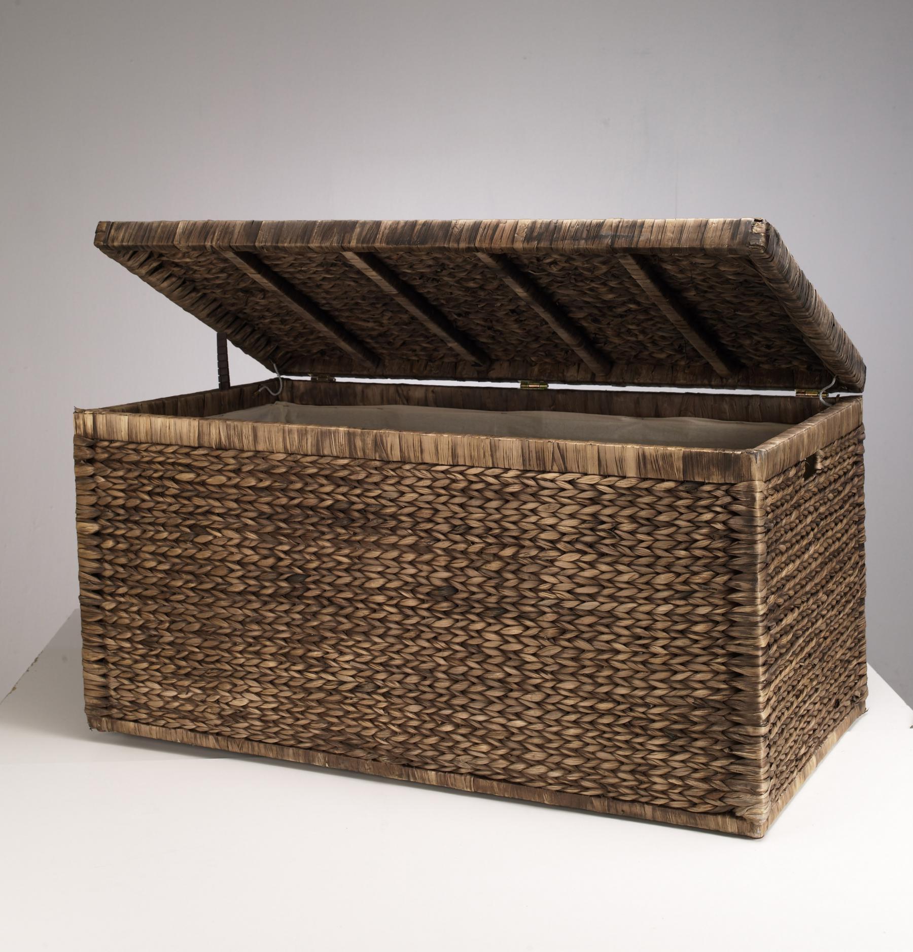 truhe mit klappdeckel braun 110 cm atmungsaktiv aufbewahrungsbox mit deckel aufbewahrungskiste. Black Bedroom Furniture Sets. Home Design Ideas