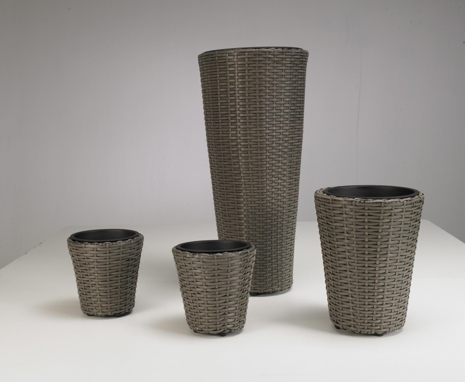 pflanzkubel polyrattan, pflanzgefäße Übertöpfe 4er set polyrattan grau, rund pflanzkübel, Design ideen