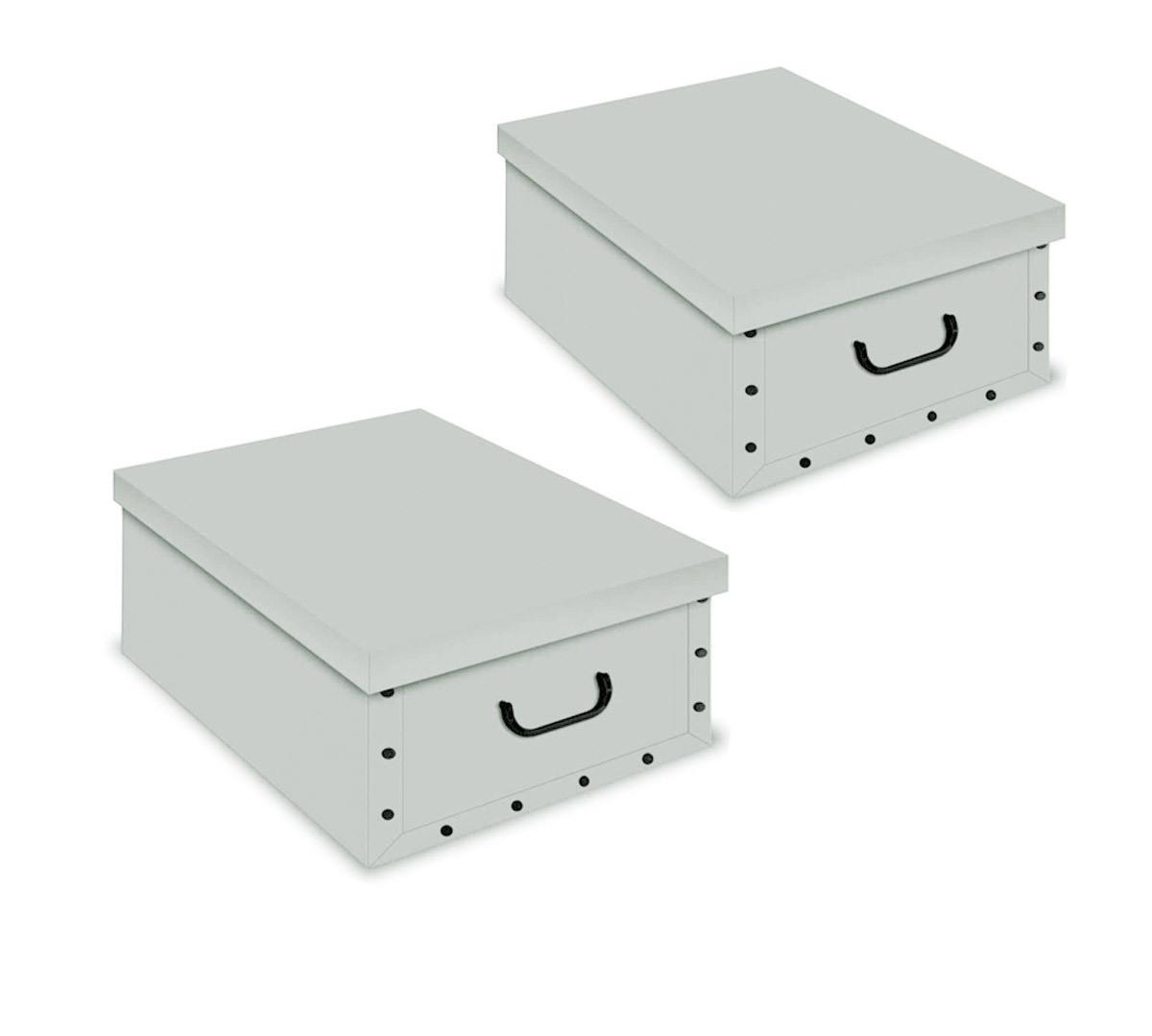 ordnungsboxen deko karton 2er set box clip grau aufbewahrungsbox f r haushalt b ro w sche. Black Bedroom Furniture Sets. Home Design Ideas