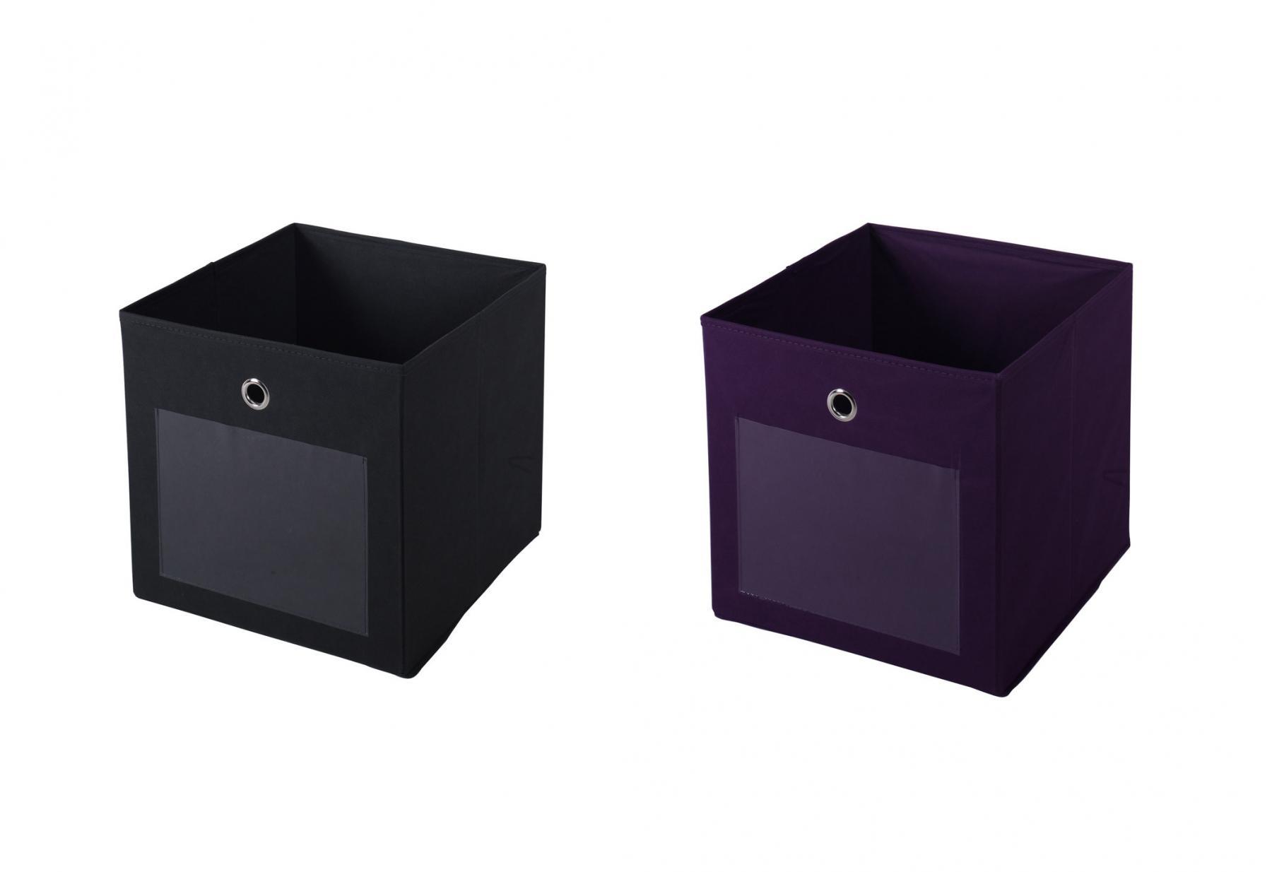 ordnungsboxen fabio violett grau 2er set aufbewahrungsbox stoff aufbewahrungskorb faltbar. Black Bedroom Furniture Sets. Home Design Ideas