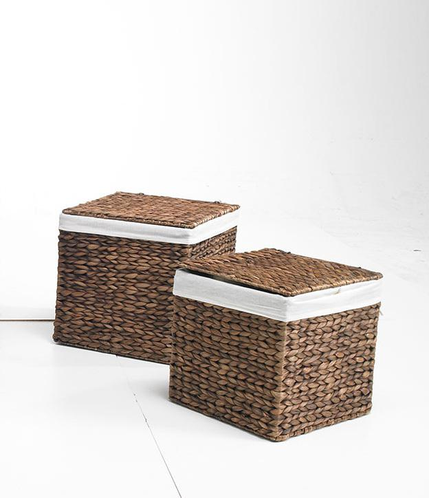 k rbe beh lter truhen 2er set m braun aus wasserhyazinthe 36x36x36 quadratisch. Black Bedroom Furniture Sets. Home Design Ideas