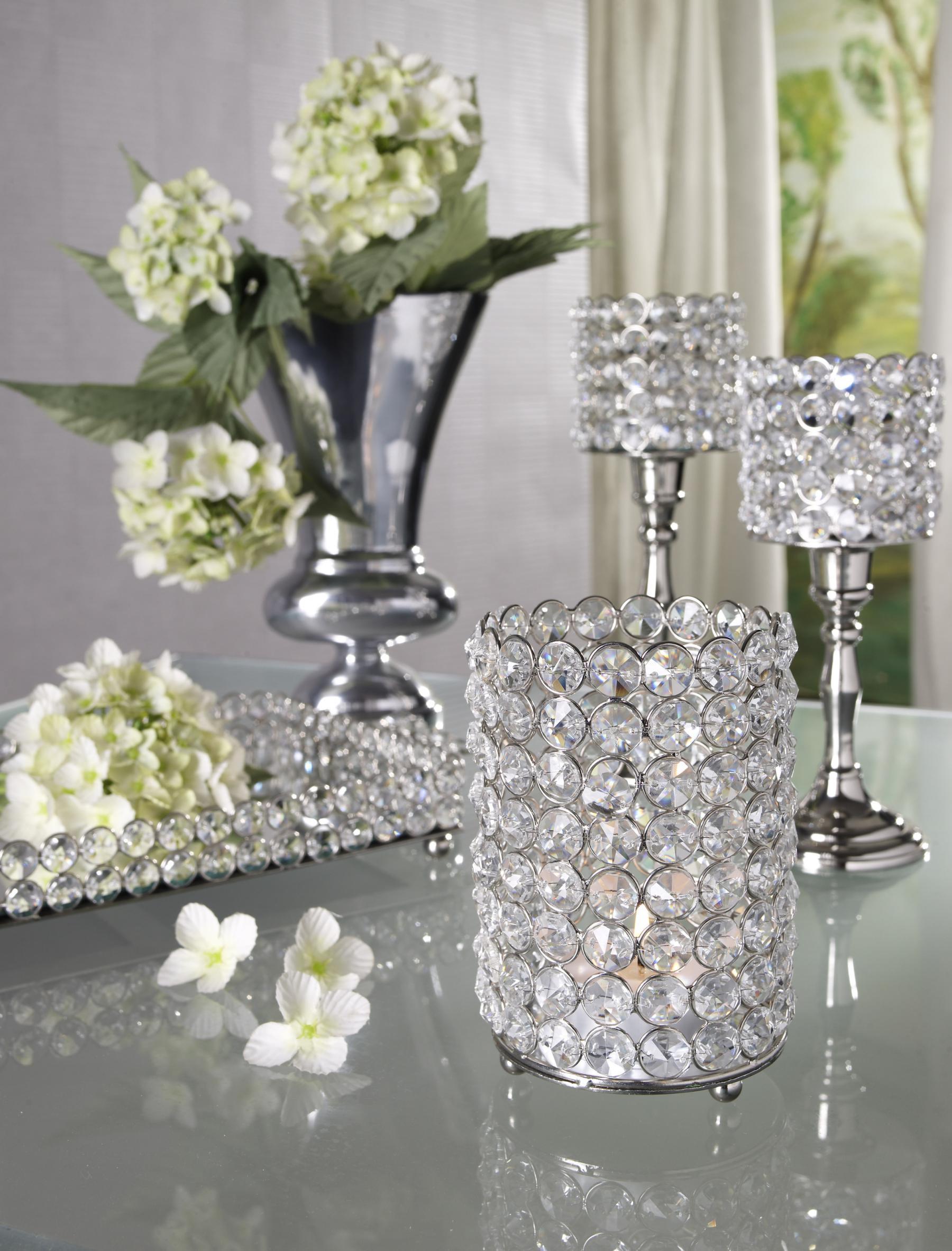 Kristall kerzenst nder lucy silber aluminium und glaskristalle teelichthalter kerzenhalter - Tischdeko silber ...