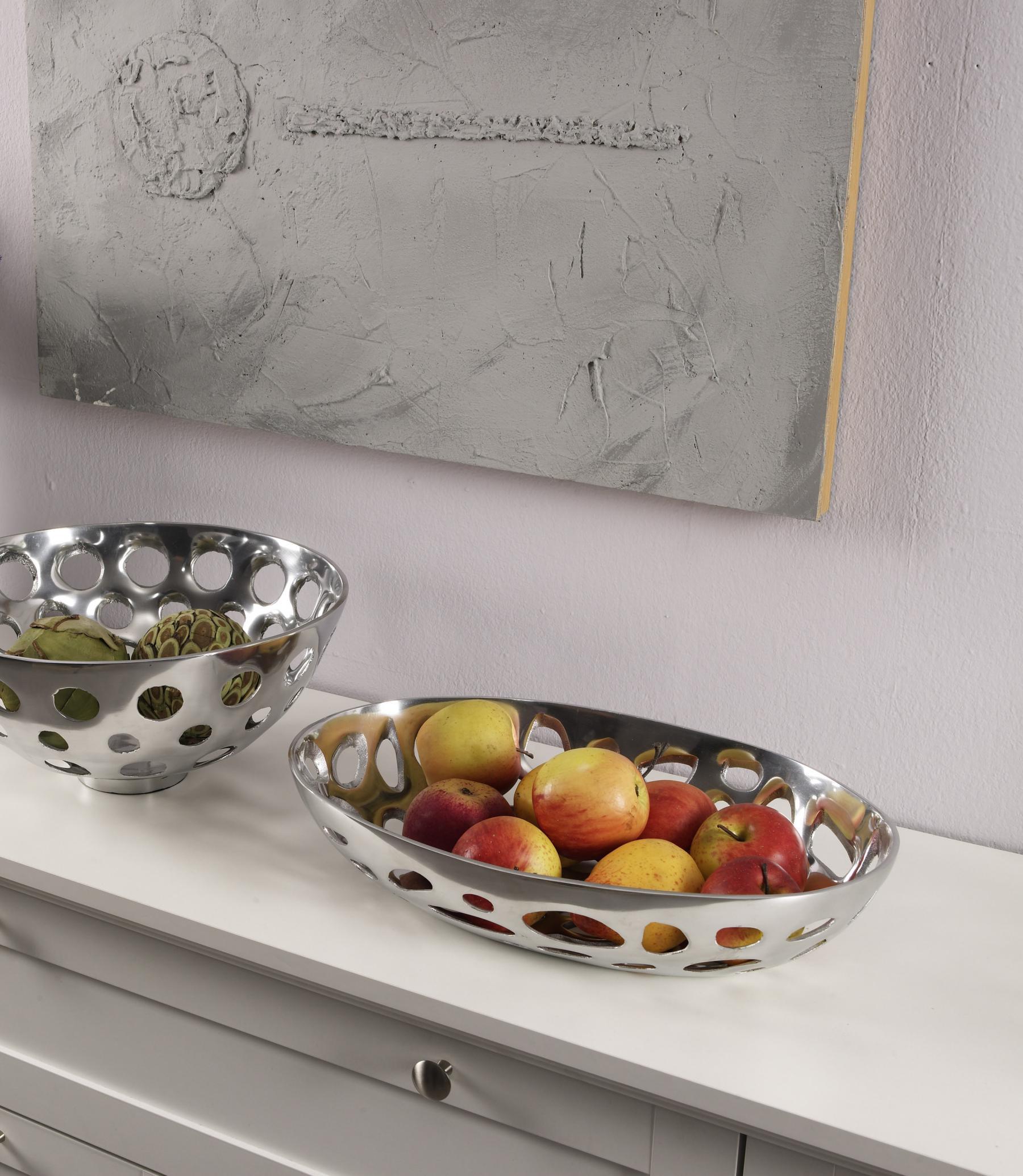 Aluminium Schale Loch Design Oval Silber Tischdekoration