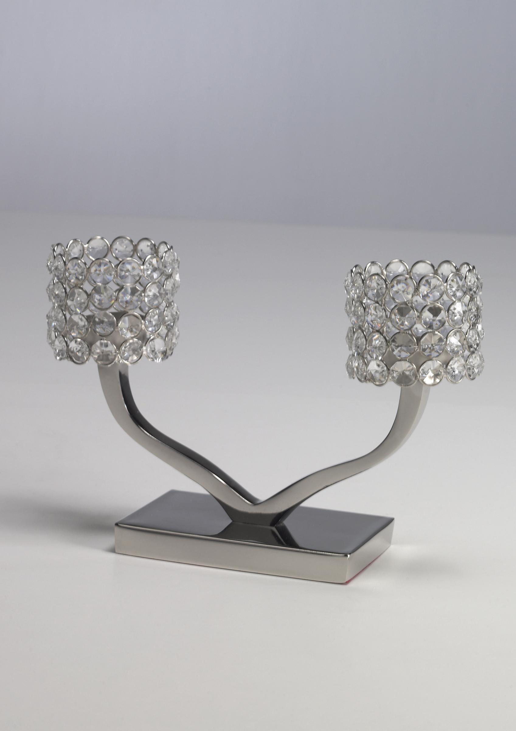 kristall kerzenst nder teelichthalter louise zweiarmig. Black Bedroom Furniture Sets. Home Design Ideas