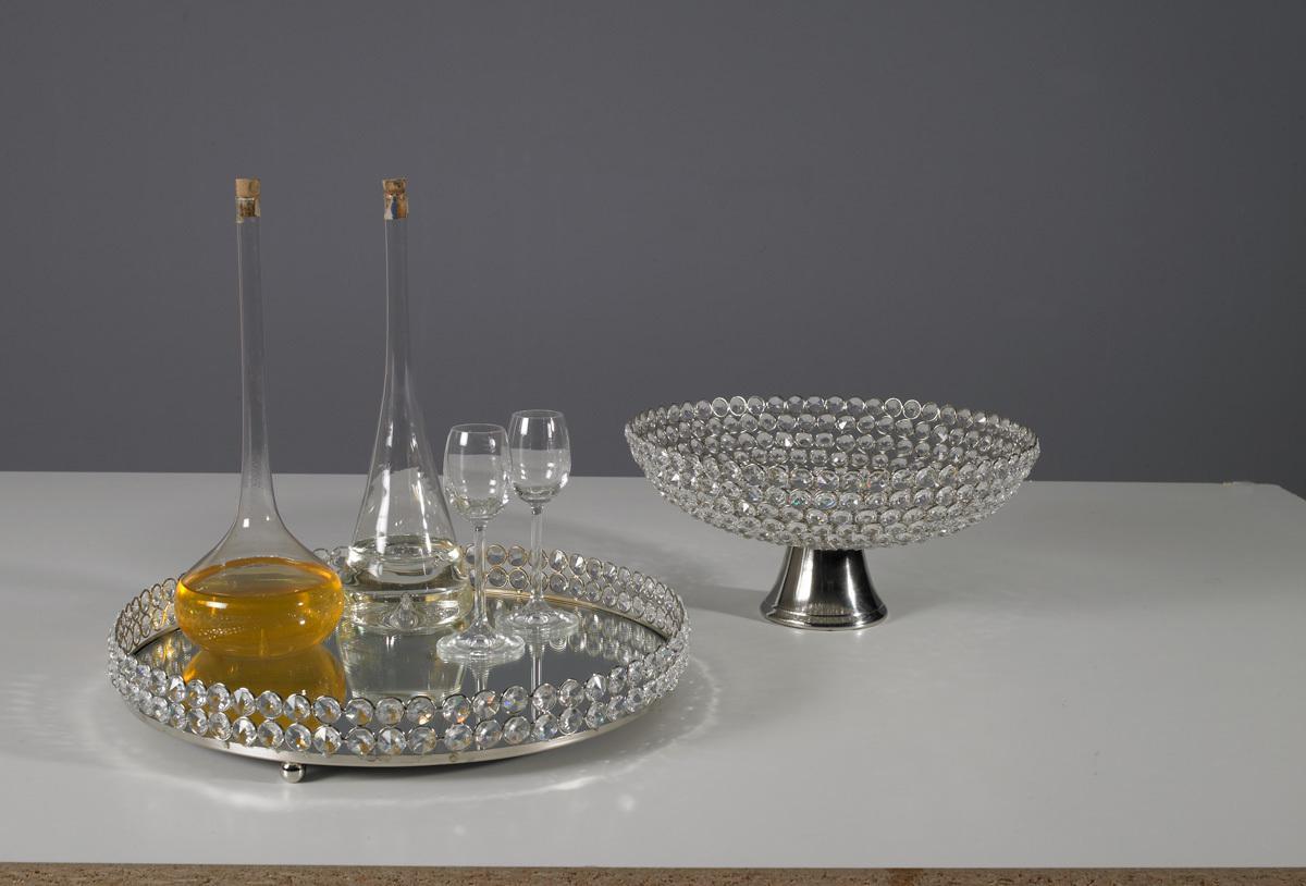 Kristallschale rund tablett dekoschale alu tischdekoration for Tischdekoration weihnachten dekoration