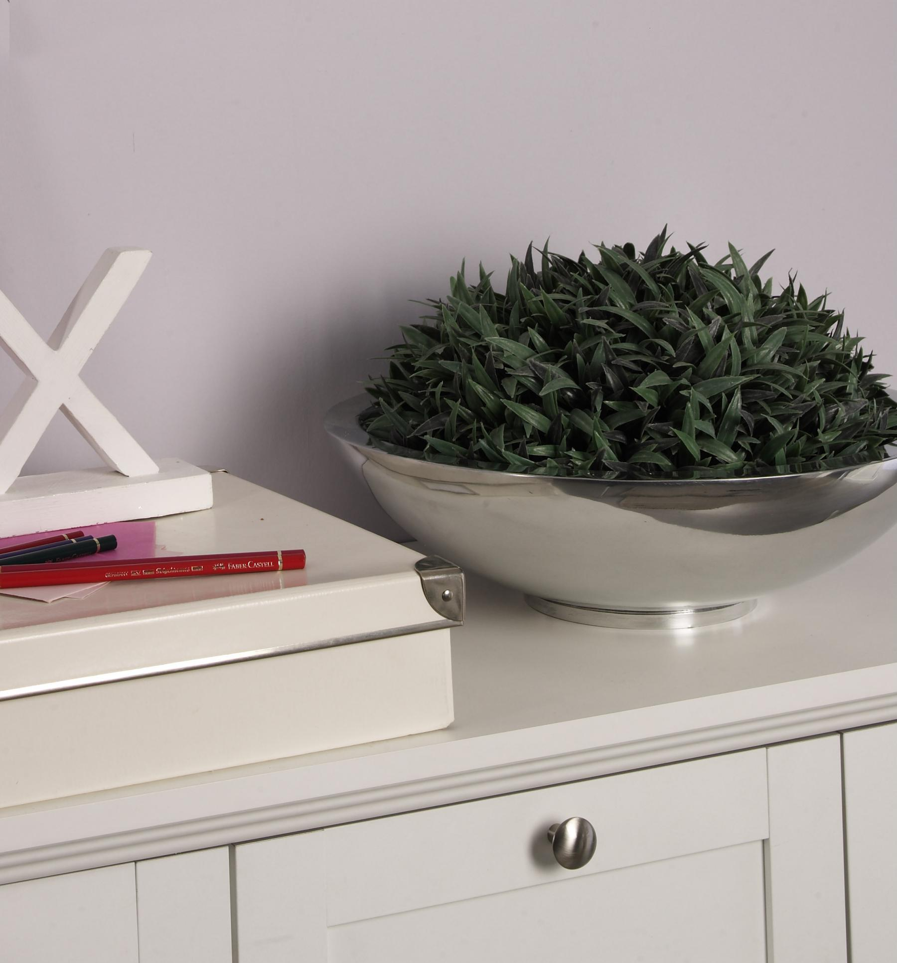 Aluminium schale rund doppelwandig tischdeko dekoschale for Tischdekoration weihnachten dekoration